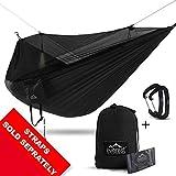 Everest Hamac de camping double avec moustiquaire - Camping sans insectes - Tente de survie en plein air - Réversible - Intégré, léger et anti-déchirure - Nylon, ACADIA - Black / Net Black