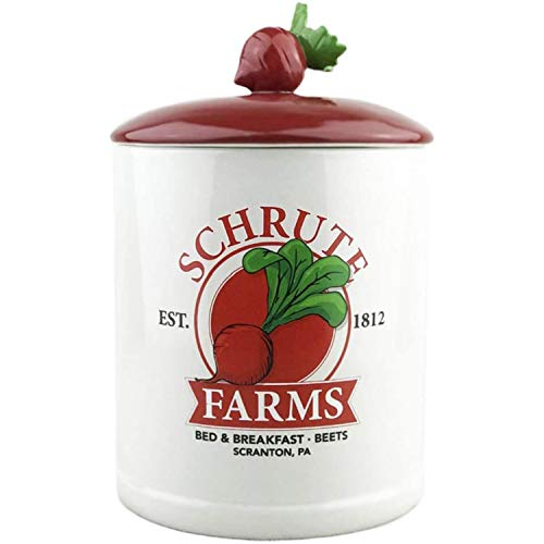 Silver Buffalo The Office Schrute Farms Est. 1812 Large Canister Ceramic Cookie Jar, white (OFC401EG)