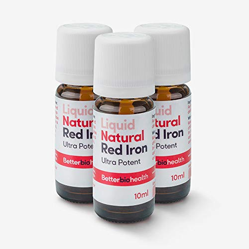 BetterBio Health Natural Red Iron 10ml Ð Ionic Liquid Concentrate Ð Quickly Restore Iron Levels, High-Absorption Fast-Acting, No Stomach Issues | Vegan | No Artificial Preservatives (Triple Pack)