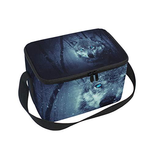 Brottasche Forest Night Cool Wolf Kühltasche für Picknick, Schultergurt, Lunchbox