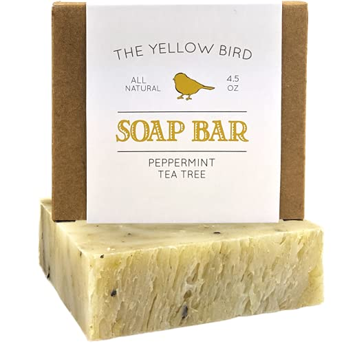 Peppermint & Tea Tree Soap Bar. Natural Soap for Acne, Athlete's Foot, Ringworm, Jock Itch. Organic Body & Face Wash for Men and Women