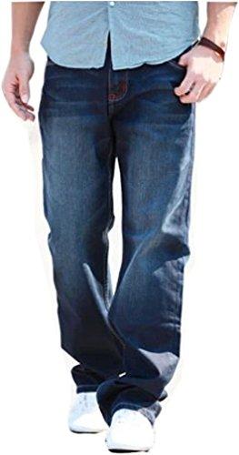 (アイセレクト)i-select ゆったり ワイド ジーンズ デニム パンツ (48(ウエスト122cm),レッドステッチ)