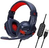 LNDDP Headset USB Computer Headset Gaming Internet Cafe Kopfhörer Mute Rauschunterdrückung Kopfhörer, rot