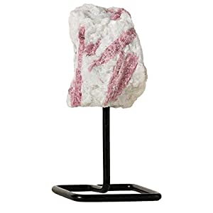 Pink Tourmaline Crystal Home Decor - Healing Crystal on Metal Stand