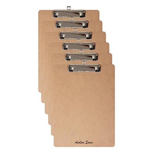6 portapapeles de tamaño Carta A4 - con agujero colgante. Durable y Impermeable.