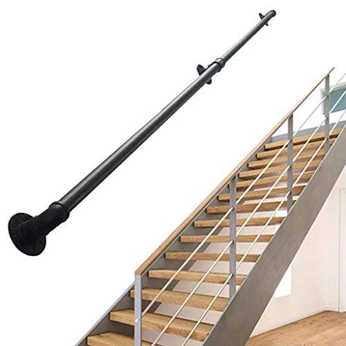 GSH- Handrail An der Wand befestigter Treppenhandlauf Schmiedeeiserner Zaun Ältere Kinder Geländer Rutschfester Handlauf, Schwarz, Länge: 30 cm-150 cm