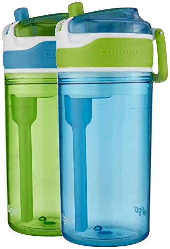 Contigo Snack Water Bottle, 2 Pack – 2 In 1 Water Bottle With Snack Compartment – 4 Ounce Snack Compartment, 13 Ounce Spill-Proof Water Bottle – Ages 3 and Up – Dishwasher Safe, Leakproof Lid