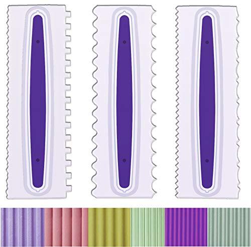 Antallcky デコレーションコーム アイシングスムーザー 3個セット デコレーションムースバタークリームケーキエッジツール プラスチック鋸歯ケーキスクレーパーポリッシャー 6デザイン テクスチャー ホワイト/パープル