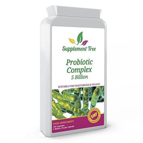 Probiotics Complex 5 Billion CFU | 120 Targeted Release Capsules | High Strength Multi Strain Supplement | Includes FOS Prebiotic from Inulin | Vegan & Vegetarian Friendly