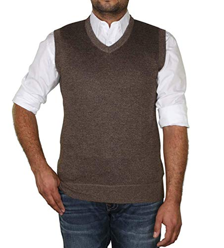 True Rock Men's Argyle V-Neck Sweater Vest-HTR Brown-Small