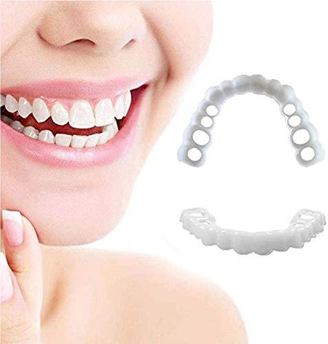 MIAOZHANG Komfort Zähne Perfekte Smile Männer Frauen Sofort Lächeln Komfort Flex Passt Bleaching Provisorischer Kosmetische Zahnersatz Abdeckung,Upper Teeth + Lower Teeth