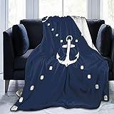 Bernice Winifred Patrón de celosía de Ancla náutica Azul Marino Manta de Microfibra Ultra Suave Hecha de Franela Anti-Pilling, más cómoda y cálida.60x50