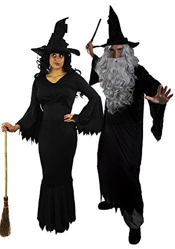 I LOVE FANCY DRESS LTD Paare KOSTÜM VERKLEIDUNG =BÖSE Hexe +BÖSER Zauberer MIT = Halloween +Karneval =Kleid+Robe+1 PERÜCKE+1 BART+2 ZAUBERHÜTE+2 Plastik ZAUBERSTÄBE= ZAUBER-MEDIUM + Hexe-XXLarge