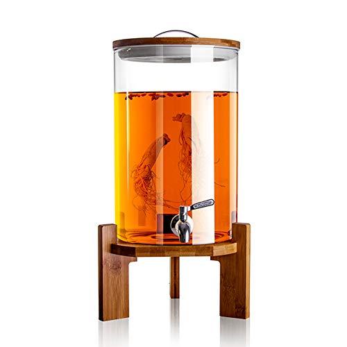 SXFYWYM Dispensador De Bebidas De Cristal Botella con Grifo Soporte Y Tapa De Madera para Bebida Caliente O Fría Garrafa