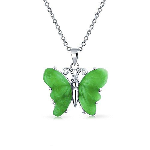 Hecho a mano tallado verde piedra preciosa jade jardín mariposa colgante collar para las mujeres adolescentes 925 plata de ley con cadena