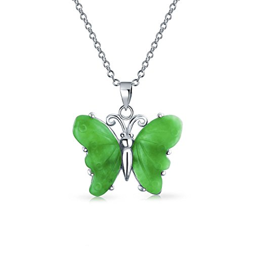 Hecho a mano tallado verde piedra preciosa jade jardín mariposa colgante collar para las mujeres...