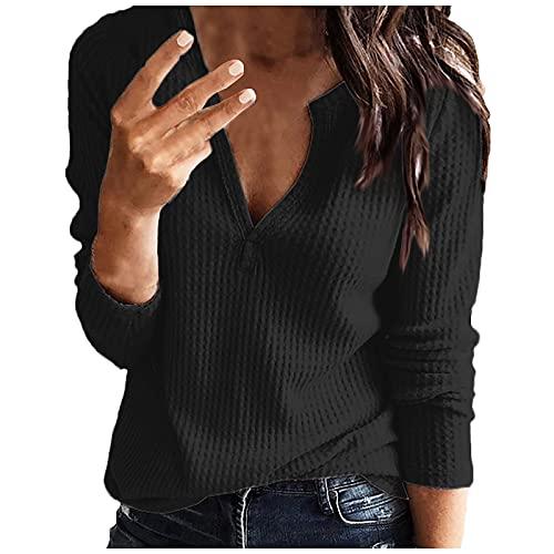 Sweat décontracté pour femme - Col en V - Couleur unie - Manches longues - Sexy et chaud, Noir , 3XL