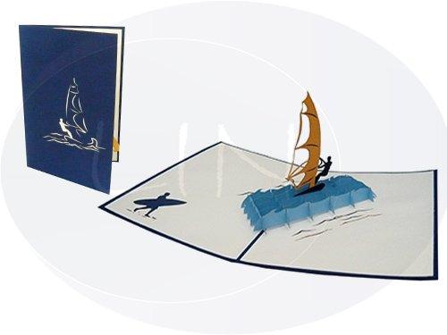 LIN-POP UP Grußkarten, 3D Karten Geburtstagskarten Gutscheinkarten, Surfer