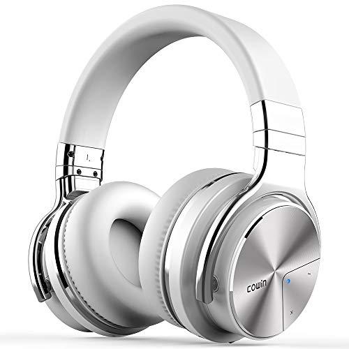 Cowin E7 Pro [Actualización] Auriculares inalámbricos Bluetooth con micrófono Hi-Fi de Graves Profundos, (Hi-Res Audio, cancelación de Ruido, Bluetooth,30 Horas de autonomía) (Blanco)