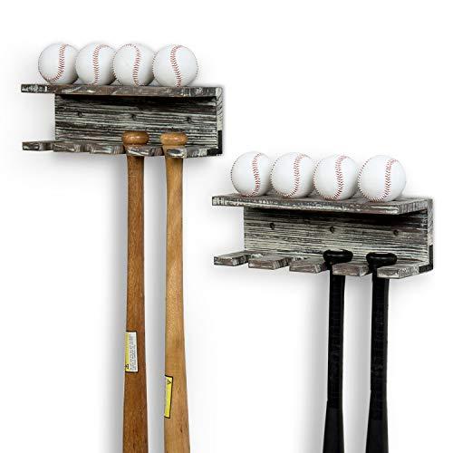 MyGift Rustic Torched Wood Wall Mounted Baseball Bat Rack and Ball Storage Shelf, Set of 2
