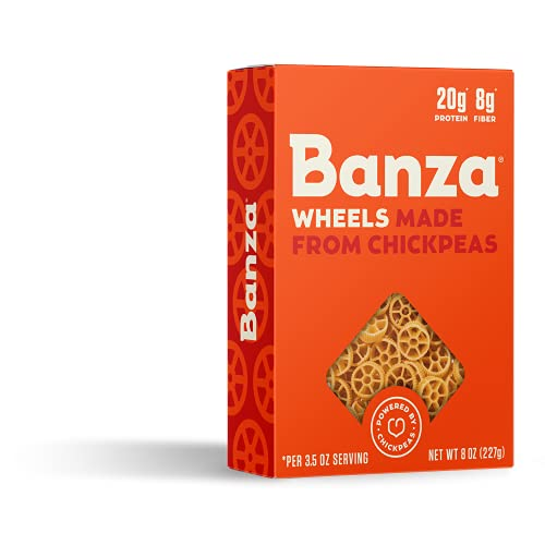 Banza Chickpea Pasta, Wheels - Gluten Free Healthy Pasta, High Protein, Lower Carb and Non-GMO - (Pack of 6)
