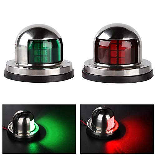 LEANINGTECH One Pair Marine Boat Yacht Light 12V Stainless Steel LED Bow Navigation Lights Pontoons Sailing Signal Lights