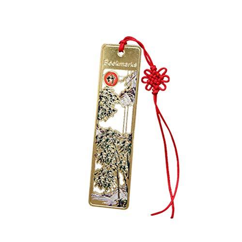 BESPORTBLE Chinesischen Stil Lesezeichen kreative Bronze Pflanze Druck Lesezeichen mit Knoten Lanyard (Bambus)