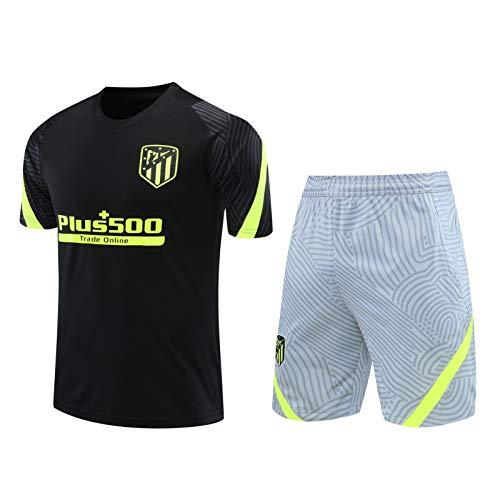 PARTAS Fitness Workout Short Sleeve Summer Lightweight Sets Soccer Shorts Top Vest Kit Set Atlético Madrid Football Training Uniform Men's Training Suit Men's Club Jersey (Color : B, Size : S)