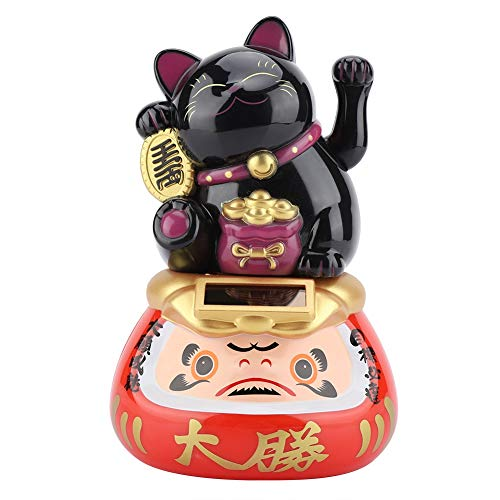 Tosuny Brazo Que agita Chino Lucky Cat, Suerte Kitty Money Cat Adecuado para automóvil, hogar, Restaurante, Tiendas, Oficina, trae Lucky niños y familias(Negro)