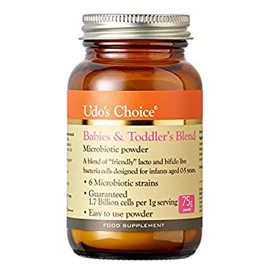 Udo's Choice Babies & Toddlers Blend Probiotics - 6 Microbiotic Strains - Lacto & Bifido Bacteria - Easy to Use Powder - Infants 0-5yrs - 75g Powder