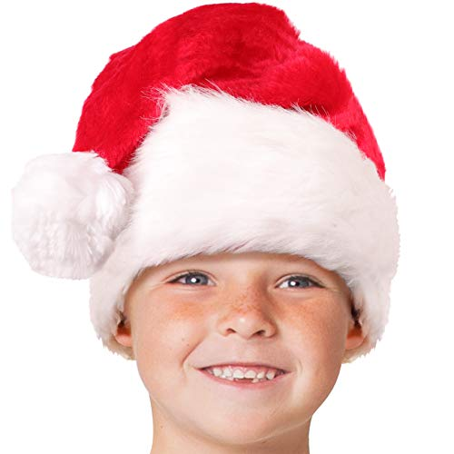 Child Plush Santa Hat for Kids; Unisex, Toddler Ages 3-10 Red
