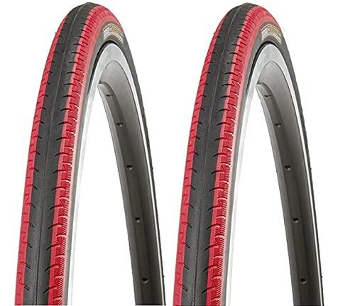P4B Neumáticos de bicicleta de 28 pulgadas (23-622) 700 x 23C en negro/rojo | perfil negativo acanalado para mayor agarre en caso de humedad y lluvia | cubierta duradera para bicicleta.