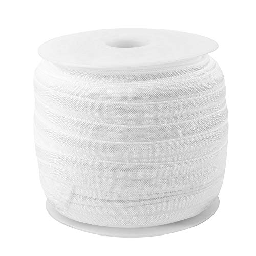 Teemico 50 Yards Elastic Foldover Ribbon Stretch Fold Over FOE Elastics for Hair Ties Headbands Making (5/8 inch Width, White)