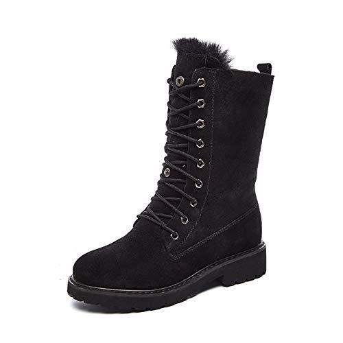 QHGao pluche warme laarzen, ademend en duurzaam, gemakkelijk te onderhouden, enkellaarzen bont gevoerde sneeuwlaarzen, comfortabele suède korte laarzen, lederen platte dameslaarzen