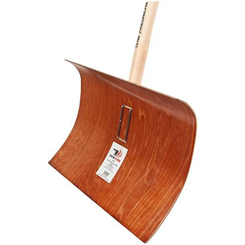 SHW-FIRE 59022 Schneeschieber Schneeschaufel Obo Holz salzbeständig 55 cm breit Professional mit Stiel Ovalstiel 180 cm lang