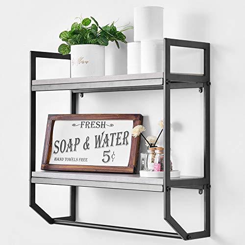 Bathroom Shelves Rustic Wall Shelf with Metal Wall Mounted Wood Shelving