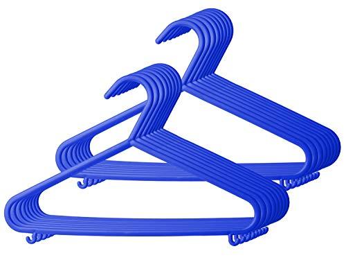 Bieco Kleerhangers, in vele kleuren, 8 en 16 en 32 stuks, voor baby's, kinderkleerhangers, kunststof hangers, broekstang, opbergruimte voor kledingkast, kast, lengte 29,5 cm, A 16 Stk blauw