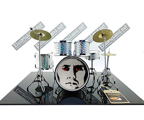 Mini Drum Kit Queen Roger Taylor Face with Red Eyes Tribute Miniaturen Rock 25cm Model Skala 1:4 Collectible Box Set Schlagzeug Sammlermodell