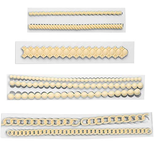 Strickseil Perle Silikon Form 4PCS 3D-Perlenkette Fondant Silikon Form Fondant Muster Schablone Kuchen Rand Dekorieren Fondant Formen Backen DIY Dekoration Backwerkzeug für Kuchen Cupcakes Zuckerguss
