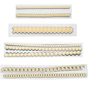 Molde de silicona para decoración de pastel, 1 juego de cuatro moldes de fondant, molde de silicona cadena, molde de perlas fondant para pasta de azúcar, DIY para decoración de tartas