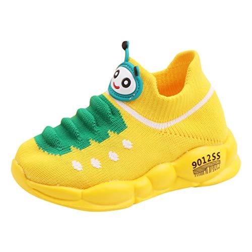 FinDaDa Kinderschuhe - Kinder Laufen Turnschuhe Mädchen & Jungen Sport Stretch Mesh Schuhe Cartoon Kleinkind Kinder Baby Laufen Turnschuhe Freizeit Schuhe Gelb Schwarz Pink 21-30 EU