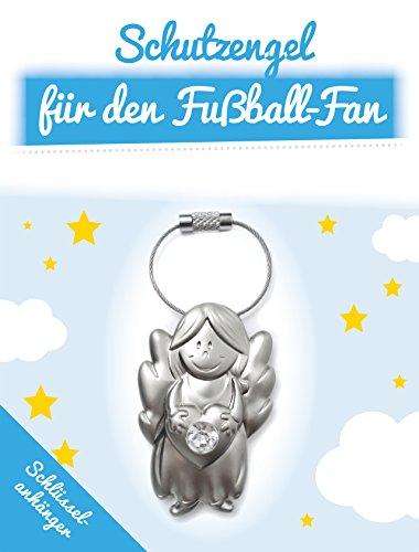 ART + emotions Schutzengel für den Fussball Fan - SCHLÜSSELANHÄNGER - Metall edles Design mit Glasstein Glücksbringer Talisman Anhänger für deinen Lieblingsmensch