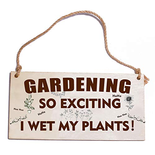 HONZEE Gardening Gifts Sign Gardening So Exciting I Wet My Plants Funny Wetting Pants Novelty Garden...
