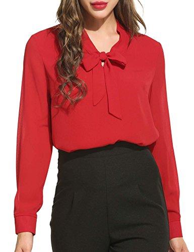 ACEVOG  Damenshirt Classics Lockere V-Ausschnitt Chiffon T-Shirt Basic Schluppenbluses Bluse Langarmshirt Frühling Herbst S,  Rot