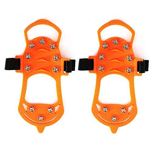 Anti-Rutsch-Steigeisen für Eis und Schnee, 10 Stäbe, zum Hineinschlüpfen, elastisch, Orange, 10 Nägel und rutschfeste Traktionsschiene