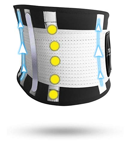 TECH THERAPEUTICS Faja Lumbar Soporte Espalda Cinturón de Soporte Lumbar Faja Espalda Elástica Abdominal Hombre Mujer con Tiras Flexibles y Terapia Magnética Talla (XS - M)