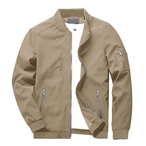 CRYSULLY Men's Outdoor Sports Zipper Coat Racer Classic Rip Stop Bomber Jacket Khaki