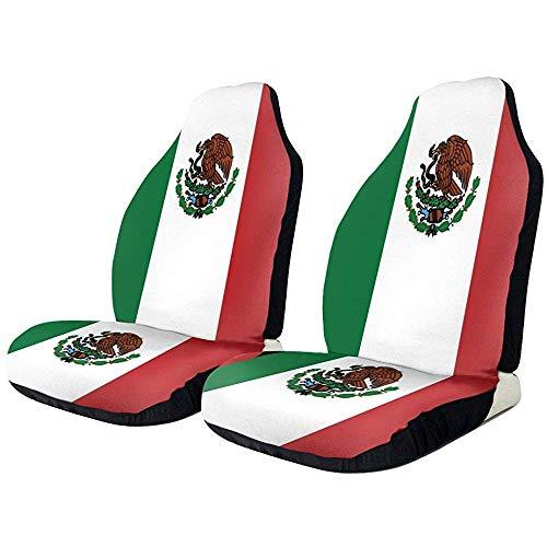 Mexico Flag Fit Autostoelhoezen, complete set, met twee voorste hoezen, antislip achterzijde, eenvoudige montage