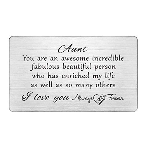 Aunt Gifts from Niece Nephew, I Love You Always and Forever Aunt, Gifts for Aunts, Best Favorite Awesome Aunt Gifts, Birthday Card, Mother's Day, Engraved Wallet Insert