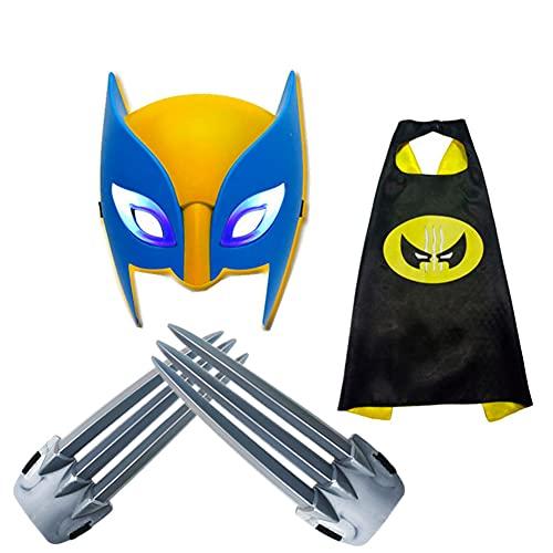 Capa de juguete de garra de Wolverine para niños + máscara (juego de 3 piezas) 1 par (10,43 pulgadas) accesorios de juego de rol de película de plástico ABS seguros adecuados para disfraces de fiesta